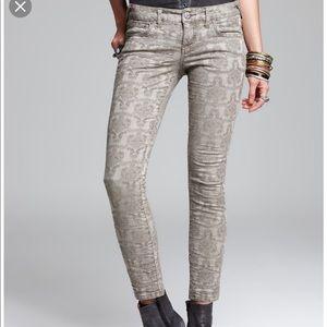 free people vintage Jacquard Super Jean slate gray